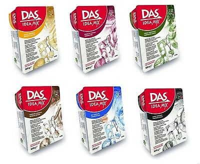 DAS Idea Mix Air Drying Modelling Clay Create a Marble Marbling Effect 6 Colours