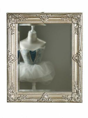 Mirror antique style facet cut 54x65cm silver colored wooden frame