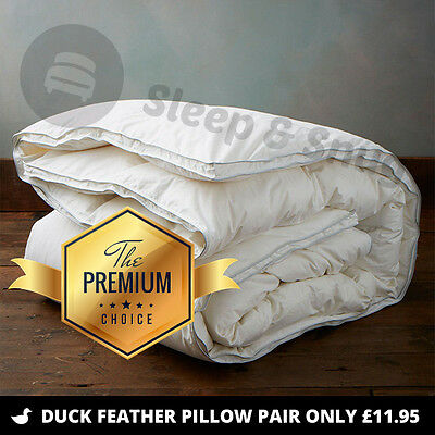 Luxury White 100% Duck Feather Duvet, All Sizes and Tog Quilt