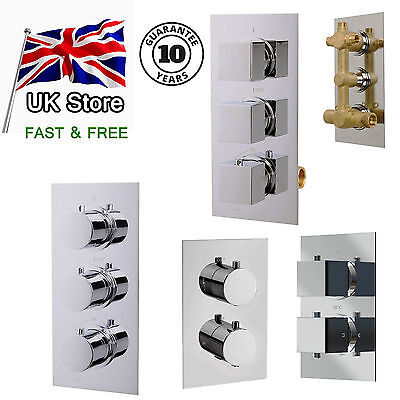 2 or 3 Ways Concealed Thermostatic Bar Shower Mixer Valve, Chrome Solid Brass
