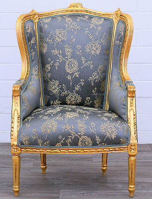 fauteuil bergere style louis xvi en bois hetre dore tissu. Black Bedroom Furniture Sets. Home Design Ideas