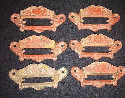 Set Of 6 Red Painted antique cast iron drawer pulls