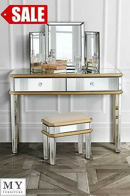 Mirrored Dressing Console & Triple folding dressing mirror & Stool (versailles)