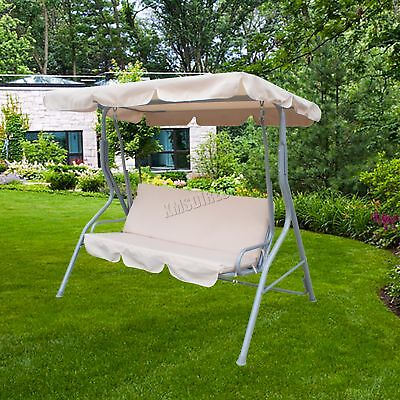 FoxHunter Beige Garden Metal Swing Hammock 3 Seater Chair Bench Outdoor FHSC01