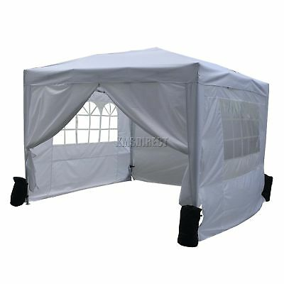 FoxHunter Waterproof 3x3m Pop Up Gazebo Marquee Garden Awning Party Tent White
