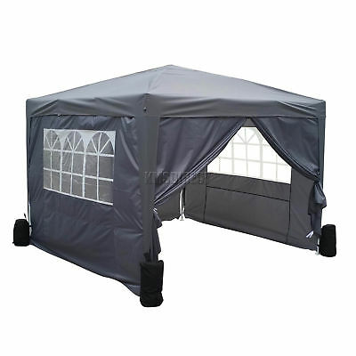 FoxHunter Waterproof 3x3m Pop Up Gazebo Marquee Garden Awning Party Tent Grey