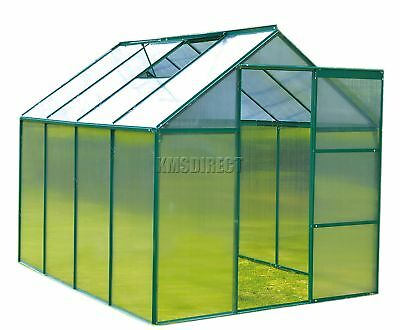 FoxHunter 8x6FT Green Polycarbonate Greenhouse Aluminium Free Base Slide Door