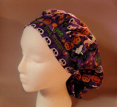 "Bouffant Surgical Scrub Hat w/ Cordlock: ""TRICK OR TREAT"" ON PURPLE"