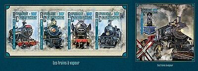 Z08 IMPERFORATED CA16209ab CENTRAL AFRICA 2016 Steam trains MNH Set