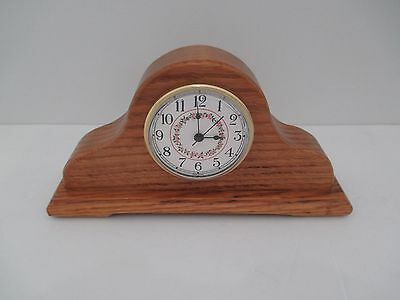 Handmade In Vermont Decorative Oak Mantle Clock Small Pine Flowers On Face BX10