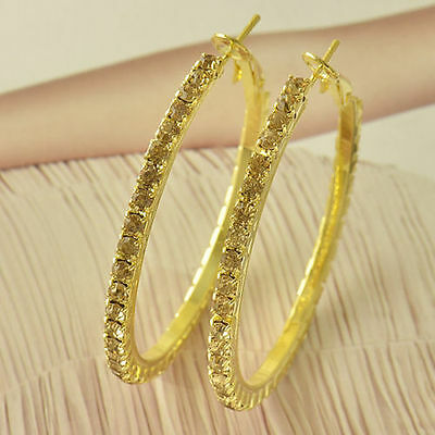 Very Pretty Women's New 9K Solid Yellow Gold Filled Champagne CZ Hoop Earrings
