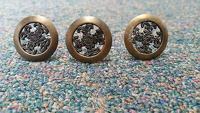 3 Vintage Rustic Country Cabinet Knobs