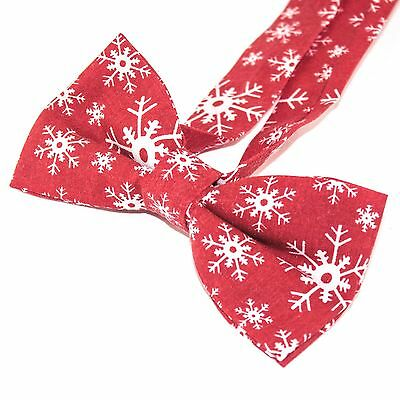 Mens Christmas Red Snowflakes Bow Tie Pre Tied Formal Neckwear CH001