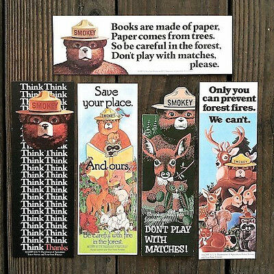 5 Vintage Original Different SMOKEY THE BEAR BOOKMARK Collection Lot Unused NOS