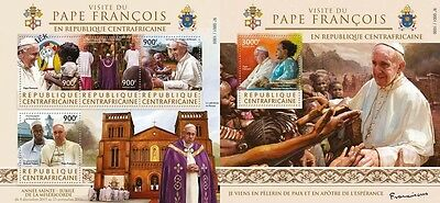 Z08 IMPERFORATED CA15625ab CENTRAL AFRICA 2015 Pope Francis MNH Set