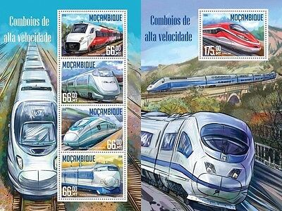Z08 IMPERFORATED MOZ16206ab MOZAMBIQUE 2016 Speed trains MNH Set