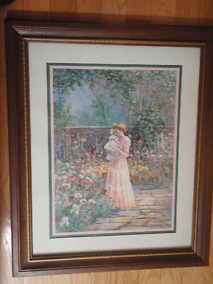Home Interior by Betty Hebert Lady holding a child by the flower garden