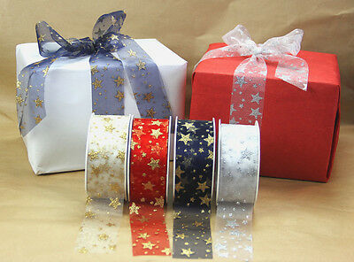 20m Roll Christmas Organza Glitter Star Ribbon 38mm Great for Wrapping & Bows