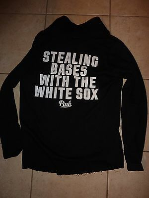 "Victorias Secret Pink Mlb Chicago White Sox""stealing Bases1/4 Zip Sweatshirt Nwt"