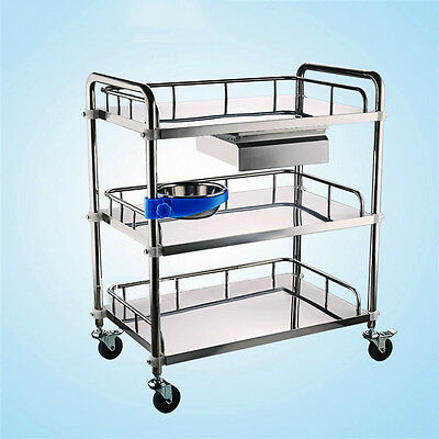 With Drawer Bowl Three Layers Serving Medical Dental Lab Cart Trolley Top Thick
