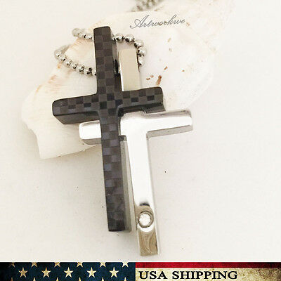 Small Men Women Black&Silver Stainless Steel Cross Pendant Necklace Chain