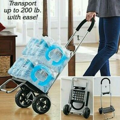 Folding Lightweight Steel Rolling Cart DollyGroceries Luggage Gardening Travel