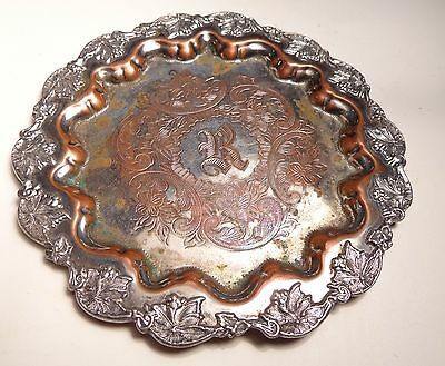 Shabby Victorian Silverplate Dish with Engraved R Barbour Silver Co.