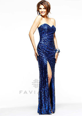 Faviana PROM DRESS - Sequined Strapless Long Gown *Size 2 (Blue) *New w/ Tags