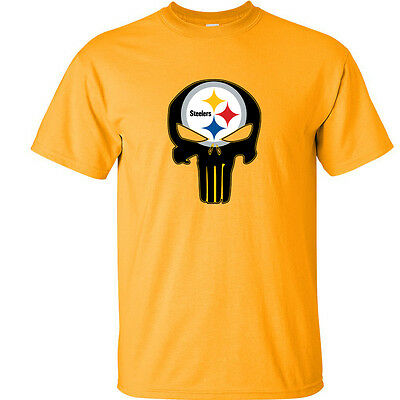 f0092bb6a Pittsburgh Steelers T-Shirt Steelers Punisher GOLD TEE Fan Inspired Tee NEW