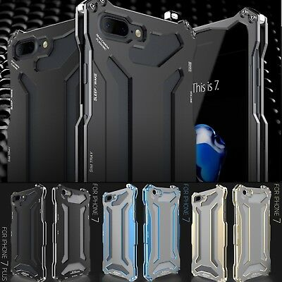 R-JUST Shockproof Armor Gorilla Glass Metal Bumper Case Cover For iPhone 7 7+