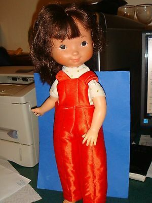 """Fisher Price """"MY FRIEND""""Doll #212 Brunette 1978 Blue Dress,tights,shoes 5-12yrs"""