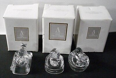 Set of 3 1995 Avon 24% Lead Crystal Cat Figurines France - New in Box - NOS