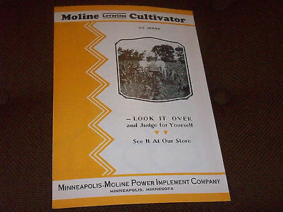 1930's Minneapolis Moline SS Series Leverless Cultivator Brochure Horse-Drawn