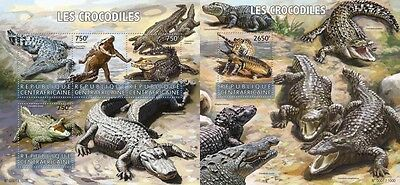 Z08 IMPERFORATED CA15623ab CENTRAL AFRICA 2015 Crocodiles MNH Set