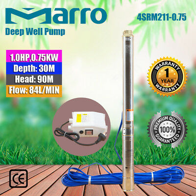 "Marro Stainless Steel Bore Water Pump Deep Well 4"" Upto 75m Head,45l/min Flow"