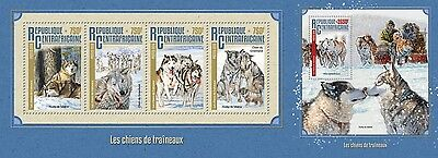 Z08 IMPERFORATED CA16208ab CENTRAL AFRICA 2016 Sledge dogs MNH Set