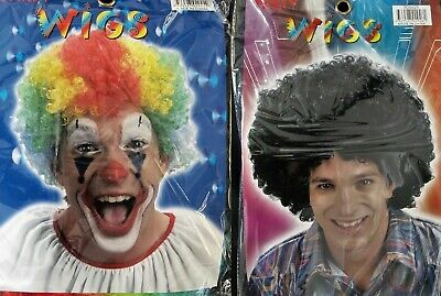 Afro Party Hair Wig - Rainbow Or Black - Clown Fun Disco Curly Style Dress Up