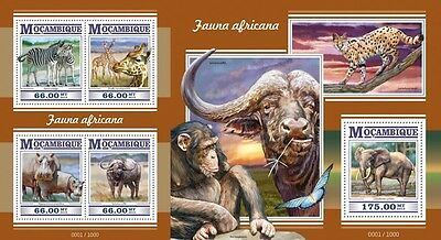Z08 MOZ15303ab MOZAMBIQUE 2015 African fauna MNH Imperf Set