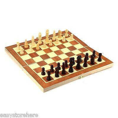 New Wooden Chess 13 X 13.4Inch Brand New Classic Folding Set Chess Board Game Uk