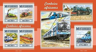 Z08 MOZ15304ab MOZAMBIQUE 2015 African trains MNH Imperf Set