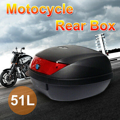 51L Motorcycle Universal Scooter Top Tail Box Rear Storage Black PP Plastic New
