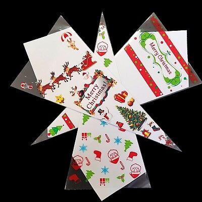 Christmas & Santa Cone Party Bags Coloured Cello Plastic Candy Sweet Treat Gift