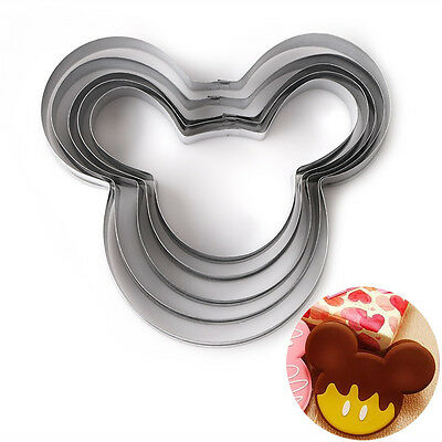 5Pcs/Set Mickey Mouse Face Shape Stainless Steel Cookie Cutter Baking Mold Tool
