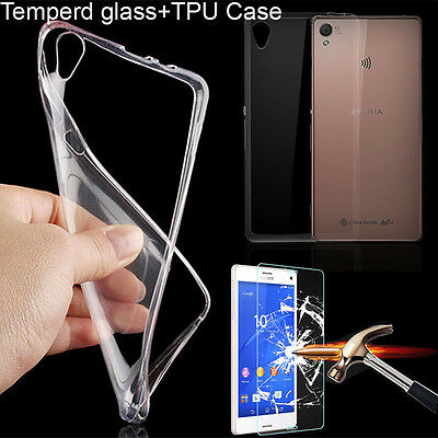 Real Tempered Glass Screen Protector+Clear Soft TPU Case For Sony Xperia Phones