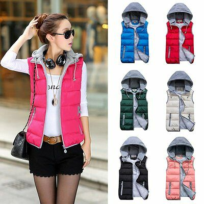 Winter Women Slim Down Cotton Hooded Vest Sleeveless Warm Jacket Waistcoat Thick