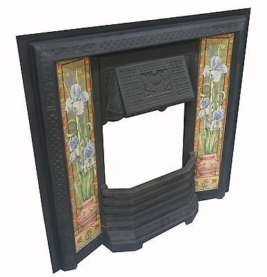 Victorian Style Cast Iron Tiled Insert Fireplace