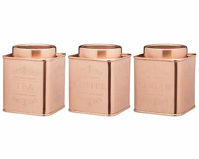 KitchenCraft Le'Xpress Copper Metal Tea Coffee Sugar Storage Tin/Canister/Caddy