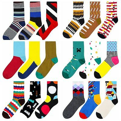 New Casual Cotton Socks Print Design Multi-Color Long Fashion Dress Men's Socks