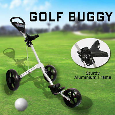 Cruiser 3-Wheel Swivel Golf Trolley Push Buggy Bag Anti-shock Fold Silver Club