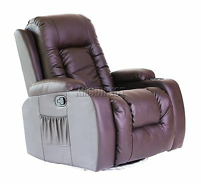 FoxHunter Leather Massage Cinema Recliner Sofa Chair Swivel Rocking MLS-02 Brown